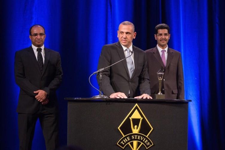 أثناء الإعلان عن فوز هدف بجائزة ستيفي العالمية للأعمال