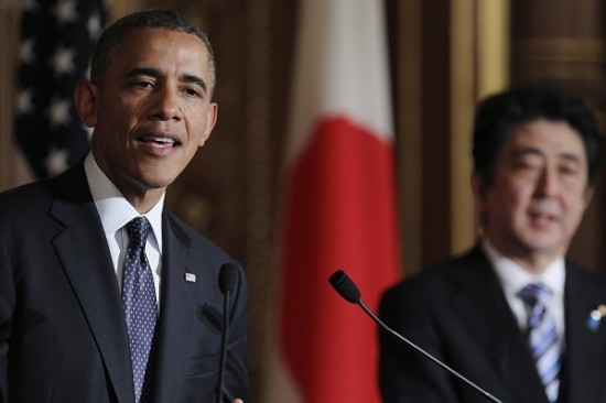 U.S. President Barack Obama addresses a news conference with Japanese Prime Minister Shinzo Abe at the Akasaka guesthouse in Tokyo
