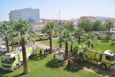 إخماد حريق بسكن مستشفى الملك خالد بحائل3