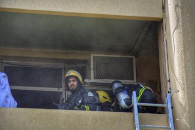 إخماد حريق بسكن مستشفى الملك خالد بحائل8