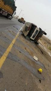 إصابة حرجة اثر انقلاب صهريج بدولي #جازان