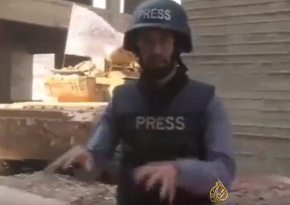 إصابة طاقم قناة فضائية في قصف بحلب