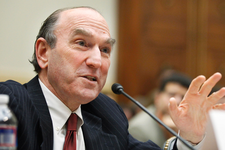 "Elliott Abrams, Senior Fellow for Middle Eastern Studies, Council on Foreign Relations , testifies on Capitol Hill in Washington, Wednesday, Feb. 9, 2011, before the House Foreign Affairs Committee hearing  on ""Recent Developments in Egypt and Lebanon: Implications for U.S. Policy and Allies in the Broader Middle East, Part 1"" .    (AP Photo/Manuel Balce Ceneta)"