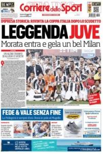 احتفلت الصحافة الإيطالية بتتويج يوفنتوس بطلًا للكأس (1) 
