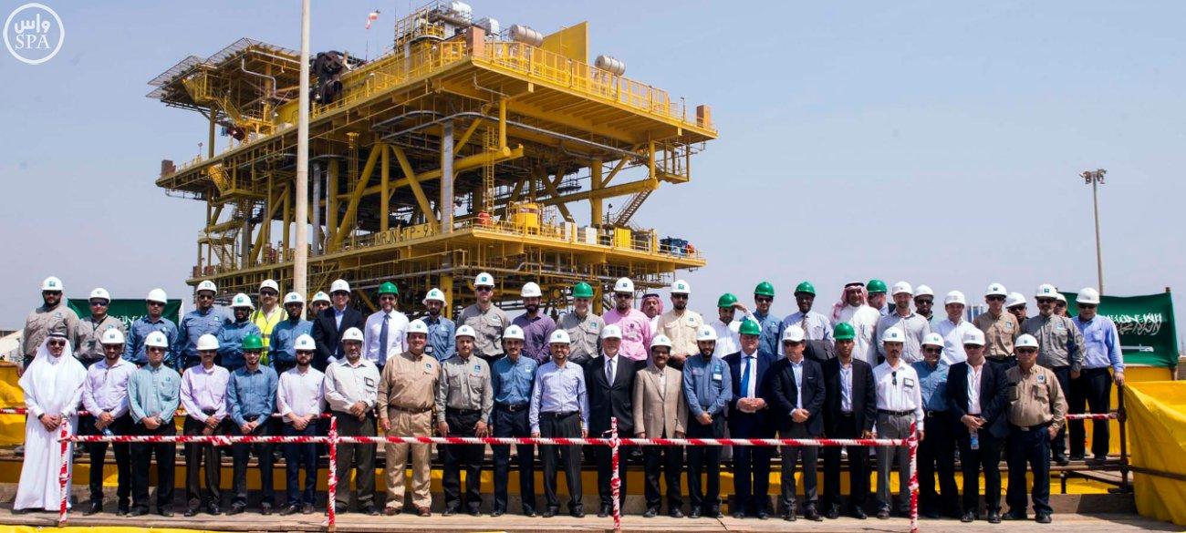 ارامكو السعودية تدشن أكبر منصة لأعمالها البحرية تم تصنيعها محلياً (1)