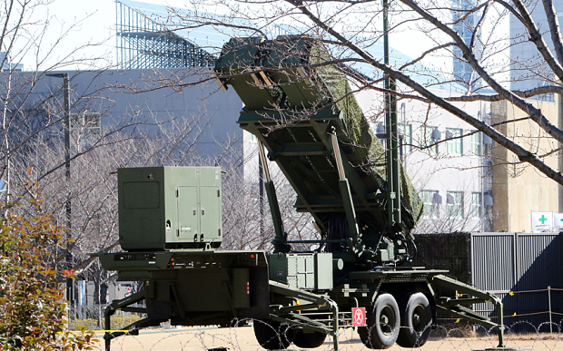 This general view shows a Japanese Self-Defense Force Patriot Advanced Capability-3 (PAC-3) interceptor launcher deployed outside Defence Ministry headquarters in Tokyo on February 7, 2016. North Korea launched a long-range rocket on February 7, violating UN resolutions and doubling down against an international community already determined to punish Pyongyang for a nuclear test last month. AFP PHOTO / Yoshikazu TSUNO / AFP / YOSHIKAZU TSUNO (Photo credit should read YOSHIKAZU TSUNO/AFP/Getty Images)