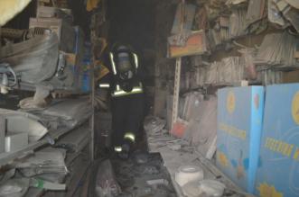 بالصور .. التماس كهربائي يحرق محلاً في صناعية #رفحاء - المواطن