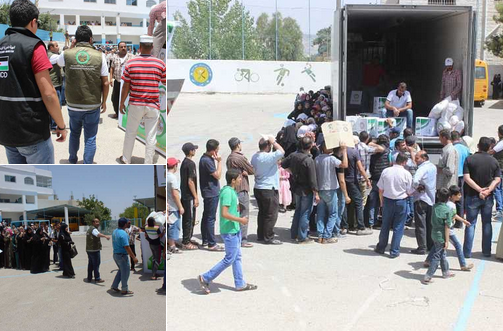 الحملة الوطنية توزع طرودًا غذائية على 1461 أسرة من اللاجئين السوريين