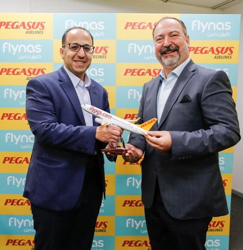 الرئيس التنفيذي لمجموعة ناس القابضة والرئيس التنفيذي لطيران بيجاسوس التركي يوقعان إتفاقية رحلات الرمز المشترك.