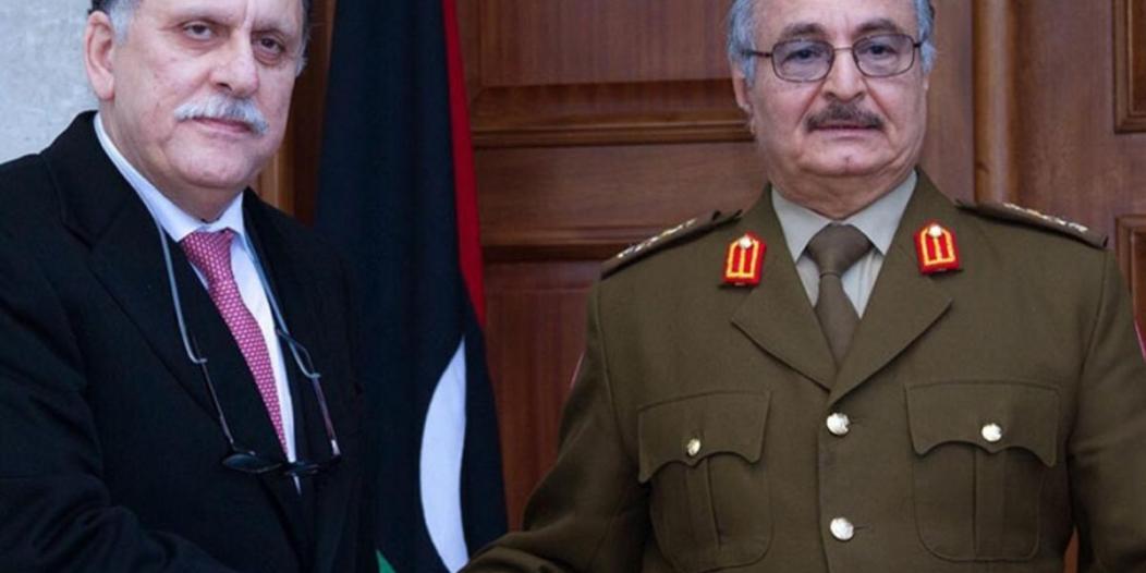 بيان حفتر والسراج: الحل في ليبيا سياسي.. وماكرون يدعو لإطار دستوري تمهيدًا للانتخابات