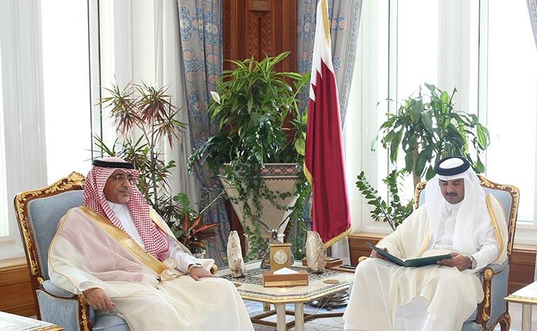 الشيخ تميم بن حمد ال ثاني امير قطر يتسلم رسالة من الملك سلمان لحضور تمرين رعد الشمال