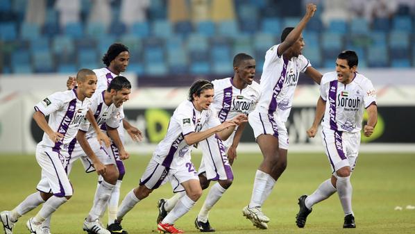 Emirati club Al-Ain celebrates after wining the Emirati Super Cup against compatriot club Al-Ahli 5-3 in Dubai on September 23, 2009. AFP PHOTO KARIM SAHIB (Photo credit should read KARIM SAHIB/AFP/Getty Images)
