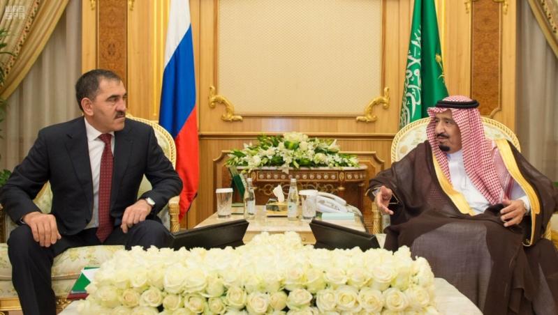 الملك سلمان مع رئيس انغوشيا