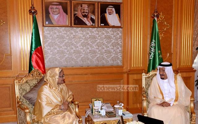 الملك سلمان والشيخة حسينة