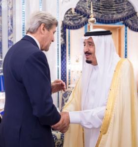 الملك سلمان ووزير الخارجية الامريكي جون كيري