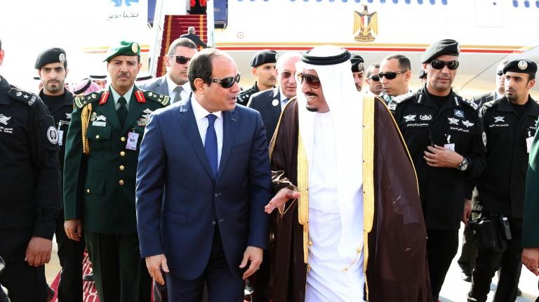 الملك مع الرئيس المصري