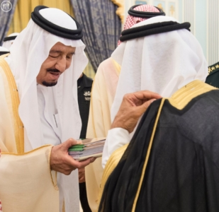 الملك يستقبل أصحاب السمو والامراء ومفتي عام المملكة