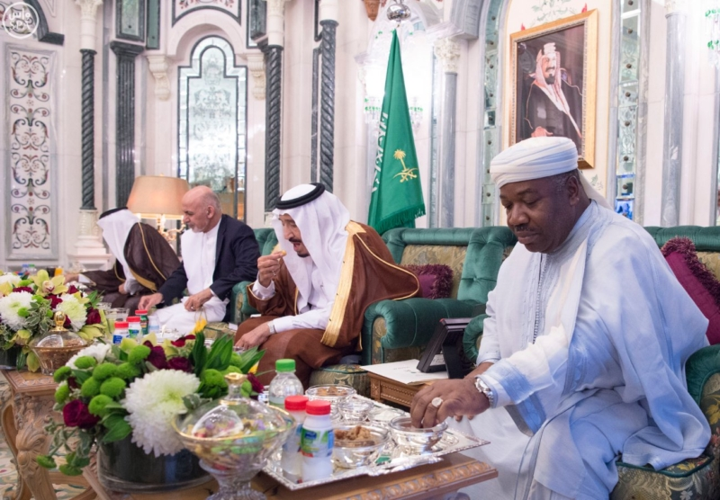 الملك يستقبل الرئيس الأفغاني والجابوني والحريري ووزير الدفاع الجيبوتي ورئيس حركة النهضة التونسية وأمين أوبك10