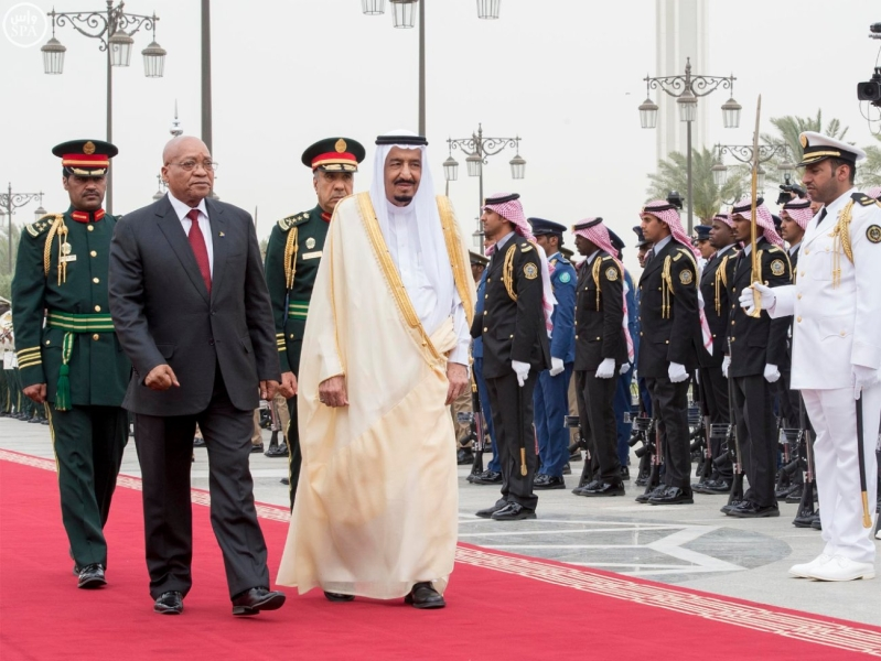 الملك يستقبل رئيس جمهورية جنوب افريقيا