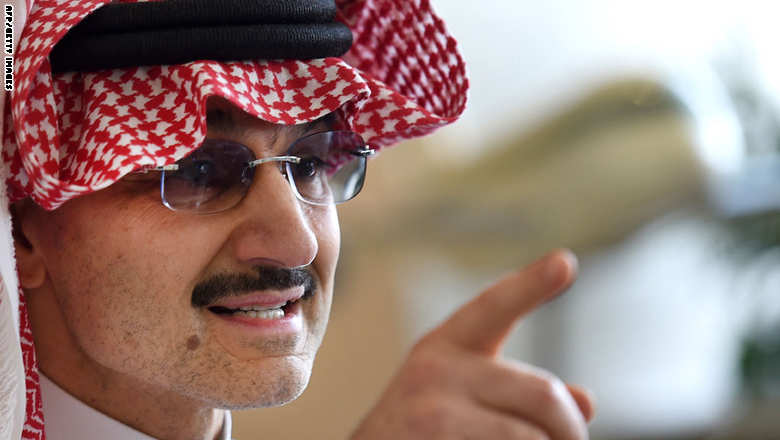"Saudi Arabia's billionaire Prince Alwaleed bin Talal speaks to reporters during a press conference in the Saudi capital, Riyadh, on July 1, 2015. Alwaleed pledged his entire $32-billion (28.8-billion-euro) fortune to charitable projects over the coming years. The prince said in a statement that the ""philanthropic pledge will help build bridges to foster cultural understanding, develop communities, empower women, enable youth, provide vital disaster relief and create a more tolerant and accepting world."" AFP PHOTO / FAYEZ NURELDINE        (Photo credit should read FAYEZ NURELDINE/AFP/Getty Images)"