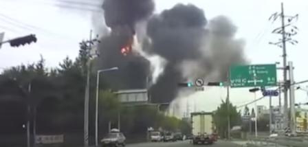 انفجار مصنع كيماويات في كوريا