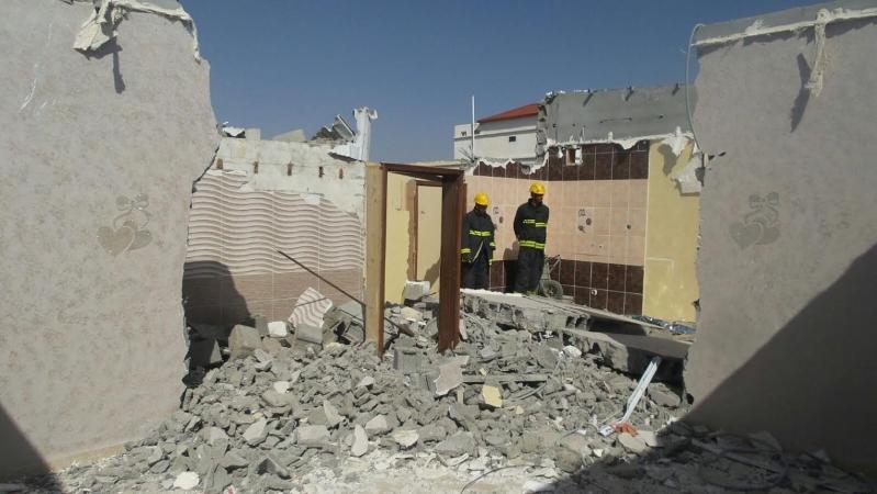 انهيار جدار عمارة سكنية بالطائف