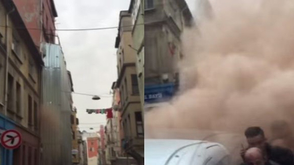 انهيار مبنى سكني باسطنبول