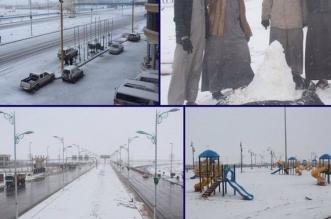 شاهد بالفيديو والصور.. تأثير الموجة الباردة على شمال#السعودية - المواطن