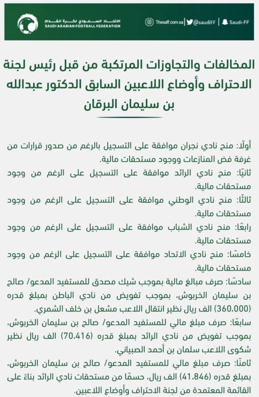 اتحاد الكرة يكشف قضية الفساد ويقرر إقالة عبدالله البرقان - المواطن