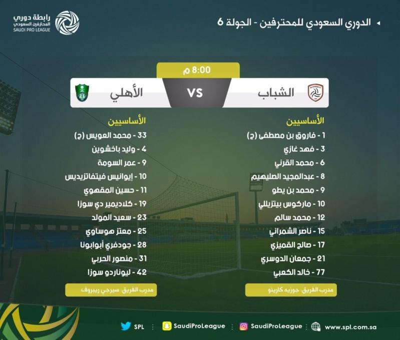 تشكيلة مباراة الشباب والأهلي في الدوري السعودي