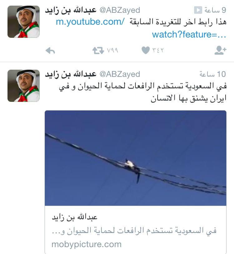 تغريدة وزير خارجية الامارات عبدالله بن زايد رافعات السعودية لانقاذ الحيوان ورافعات ايران لشنق الانسان