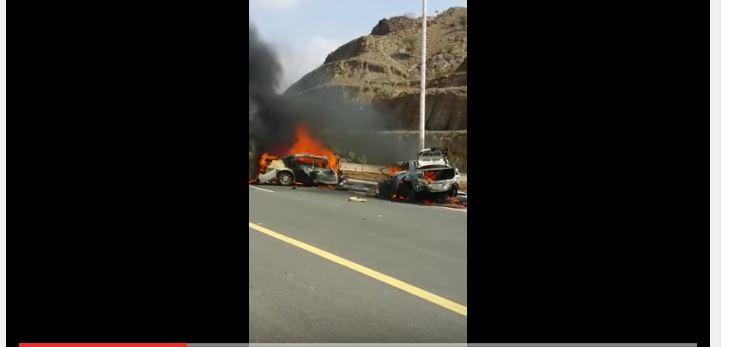 تفحم 3 اشخاص في حادث تصادم جازان