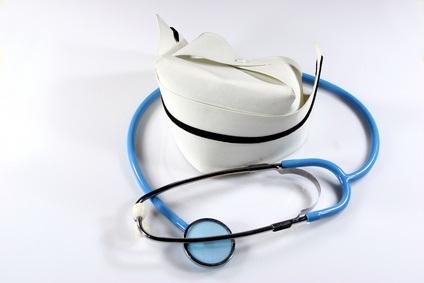 Nurse's hat and stethoscope.