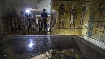A picture taken on September 29, 2015 shows the golden sarcophagus of King Tutankhamun in his burial chamber at the Valley of the Kings, close to Luxor, 500 kms south of Cairo. Standing before the majestic gold, ochre and white frescos of Tutankhamun's tomb, British archaeologist Nicholas Reeves passionately defended his daring theory that Nefertiti is buried in a secret chamber. AFP PHOTO / KHALED DESOUKI        (Photo credit should read KHALED DESOUKI/AFP/Getty Images)
