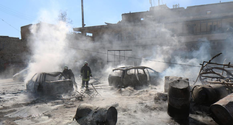 جانب من الدمار الذي ألحقه قصف مقاتلات النظام على حلب