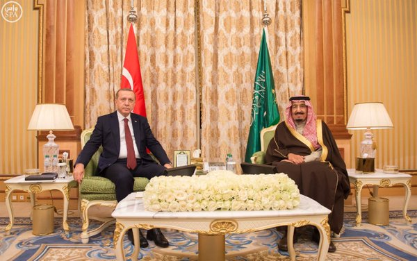 جانب من جلسة المباحثات بين خادم الحرمين الشريفين والرئيس التركي