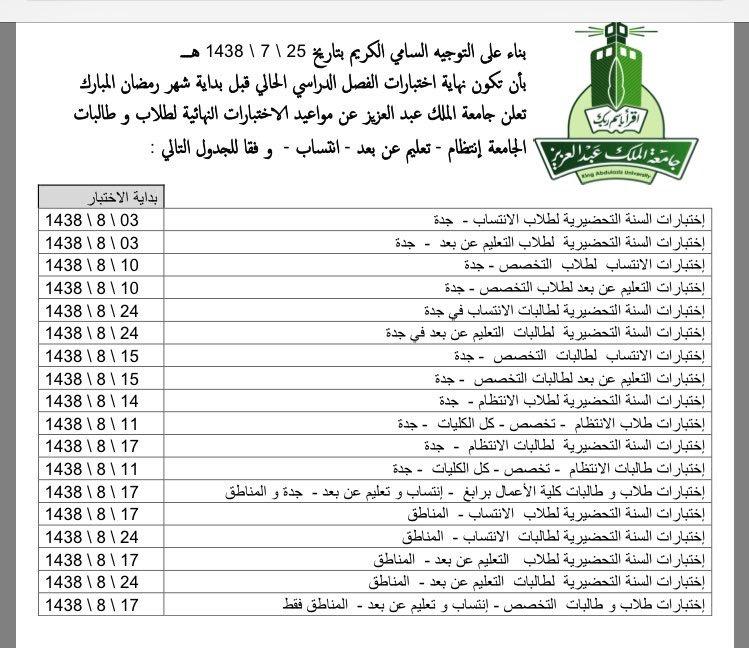 جدول الاختبارات جامعة الملك عبدالعزيز