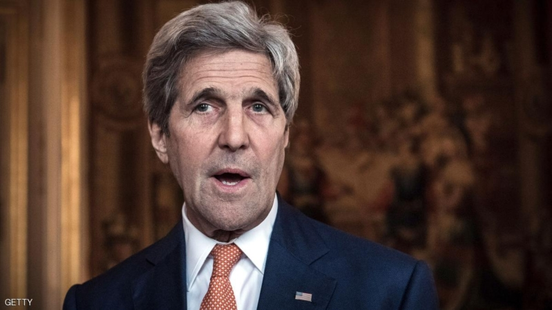 US Secretary of State John Kerry talks to the press prior a meeting with French Foreign minister about Syria at the French Foreign ministry in Paris on May 9, 2016. / AFP / PHILIPPE LOPEZ        (Photo credit should read PHILIPPE LOPEZ/AFP/Getty Images)