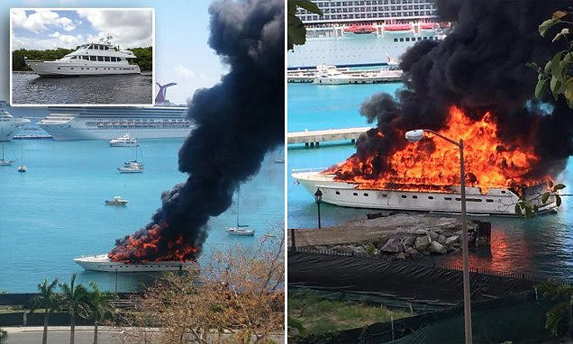 Cito ?@bonafide 17h17 hours ago Soooo there's a yacht on fire Pictured: Luxury mega yacht 'worth £1.7million' goes up in flames as it docks in US Virgin Islands harbour The 77ft vessel, Positive Energy, was engulfed in a dramatic blaze on the Caribbean island yesterday afternoon