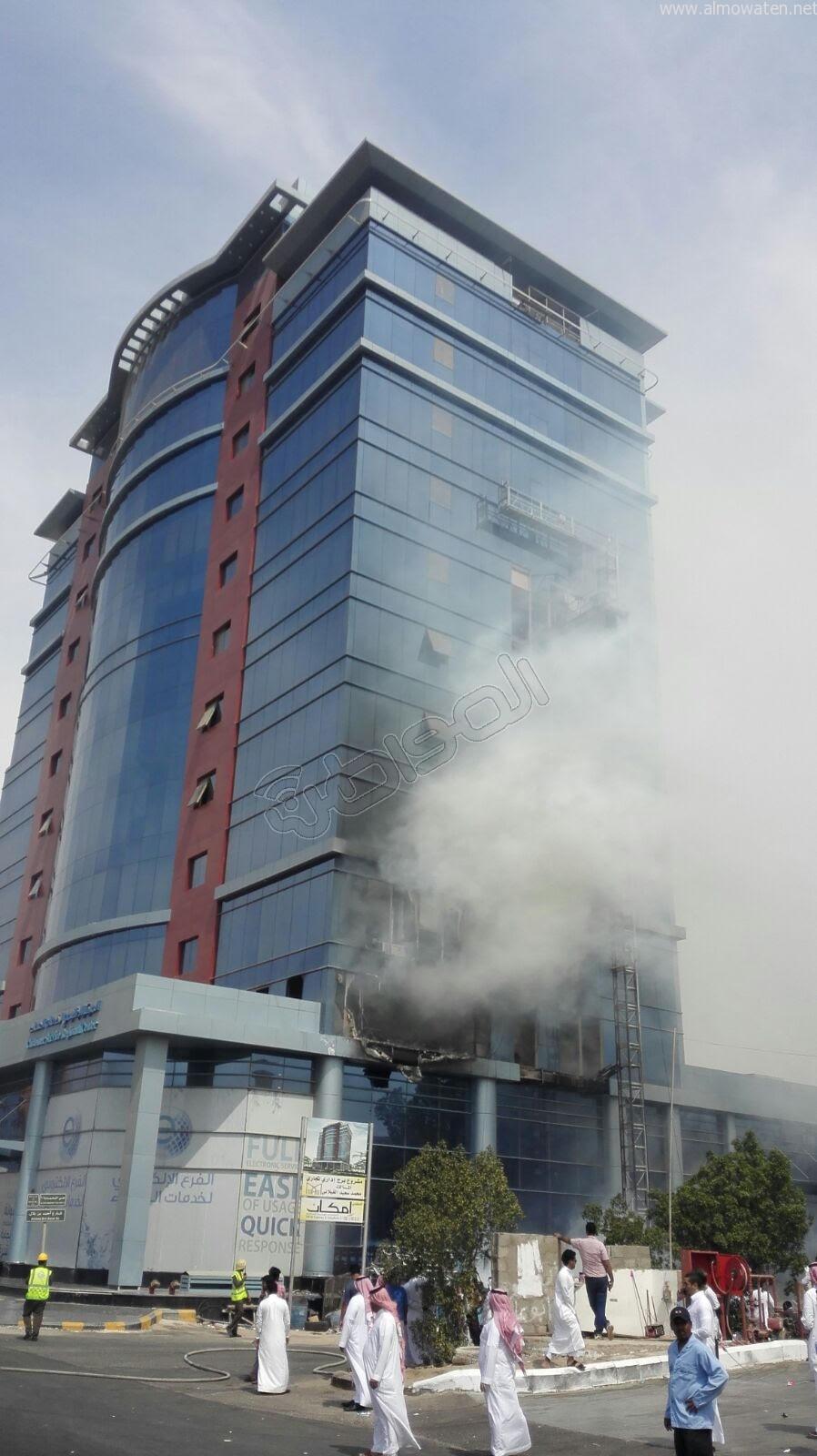 شاهد بالصور.. حريق في مبنى شركة المياه الوطنية في جدة - المواطن