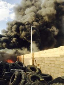 حريقاً شرق المنطقة الصناعية 2