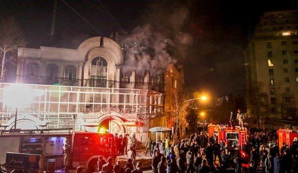 حريق السفارة السعودية بايرانaa