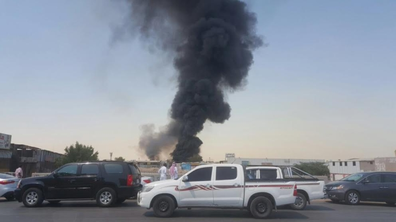 حريق بجدة سوق الامير متعب