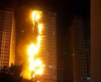 حريق برج سكني بالامارات