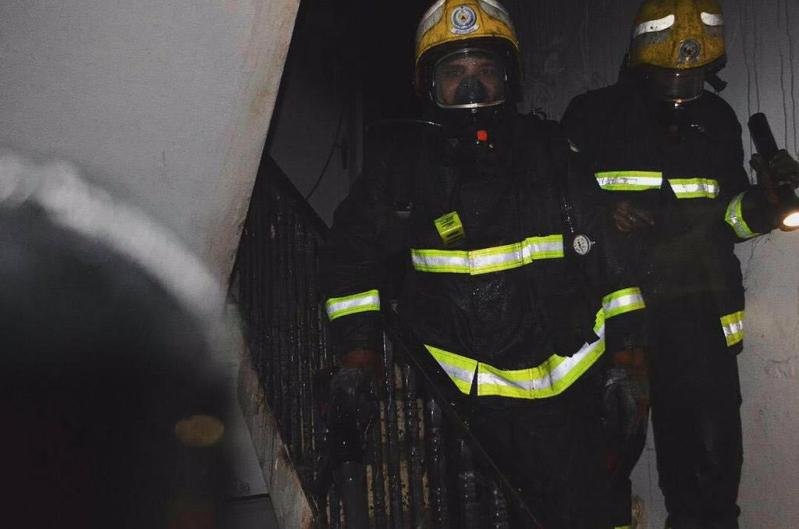 حريق بشقة في روضة رفحاء2