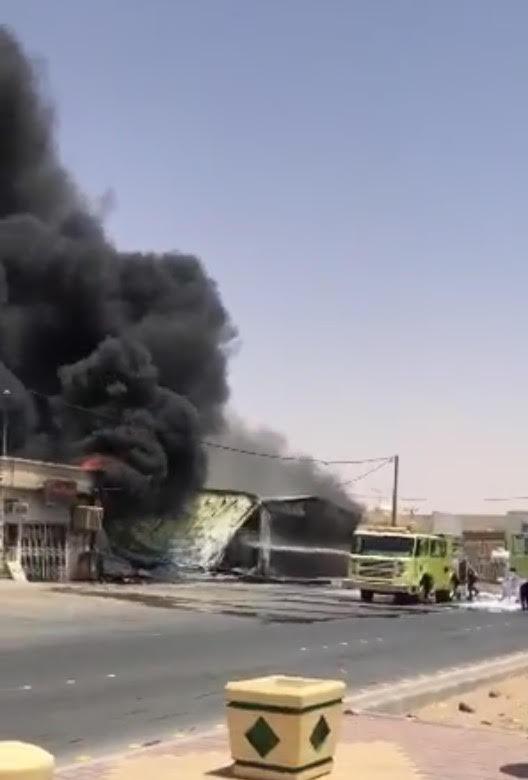 حريق بمحل بنشر برماح كاد أن يسبب كارثة (2)