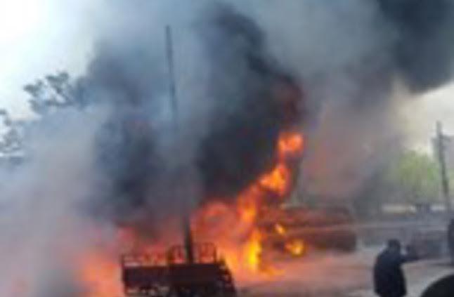 حريق حافلة ببنزين في مصر