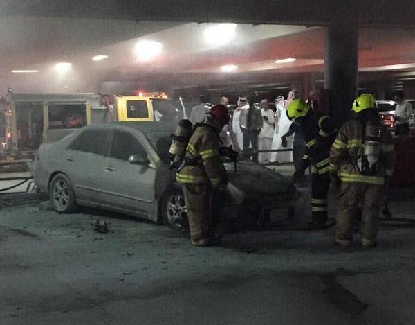 حريق سيارة مطار الملك خالد