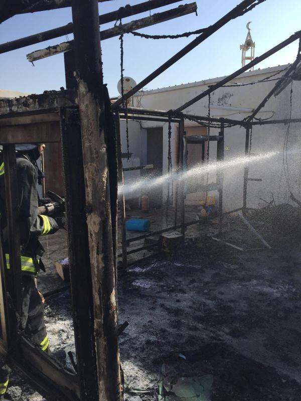 حريق في مشبّ خارجي بـ #تبوك1
