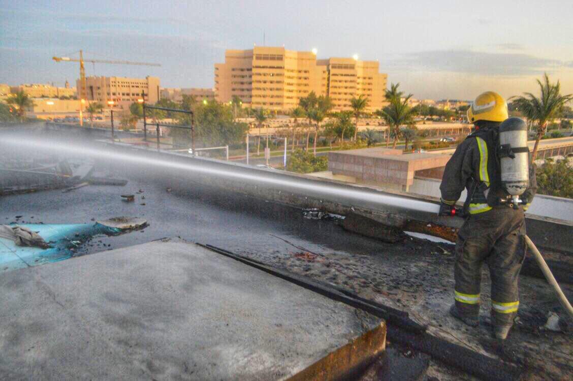 حريق مبنى جامعة الملك عبدالعزيز